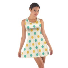 Polka Dot Yellow Green Blue Cotton Racerback Dress by Mariart