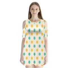 Polka Dot Yellow Green Blue Shoulder Cutout Velvet  One Piece by Mariart