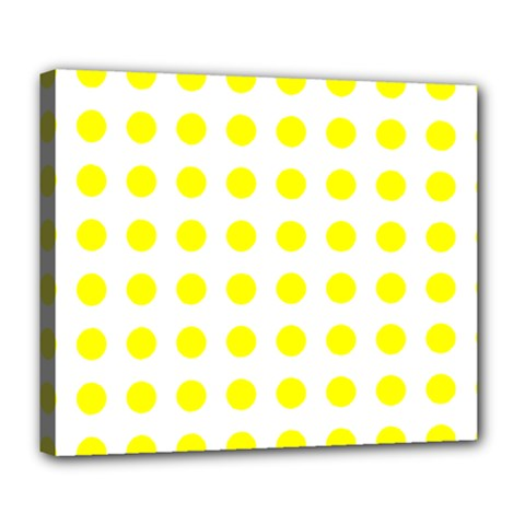 Polka Dot Yellow White Deluxe Canvas 24  X 20   by Mariart