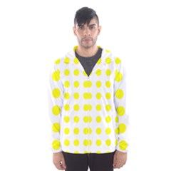 Polka Dot Yellow White Hooded Wind Breaker (men) by Mariart