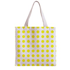 Polka Dot Yellow White Zipper Grocery Tote Bag by Mariart