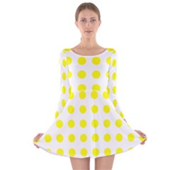 Polka Dot Yellow White Long Sleeve Velvet Skater Dress by Mariart
