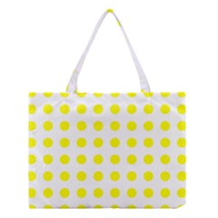 Polka Dot Yellow White Medium Tote Bag