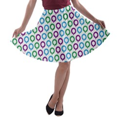 Polka Dot Like Circle Purple Blue Green A-line Skater Skirt