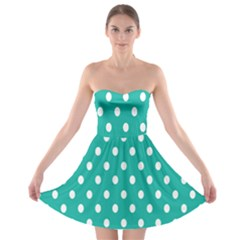 Polka Dots White Blue Strapless Bra Top Dress by Mariart