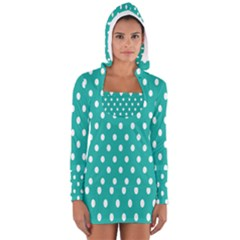 Polka Dots White Blue Women s Long Sleeve Hooded T Shirt by Mariart