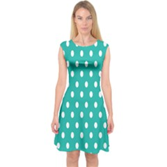 Polka Dots White Blue Capsleeve Midi Dress by Mariart