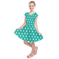 Polka Dots White Blue Kids  Short Sleeve Dress by Mariart