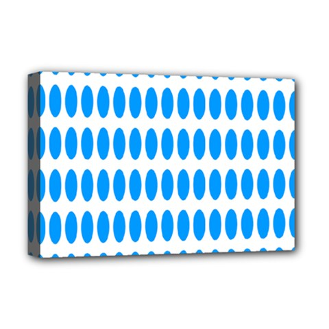 Polka Dots Blue White Deluxe Canvas 18  X 12   by Mariart