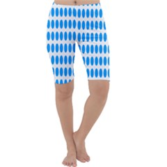 Polka Dots Blue White Cropped Leggings