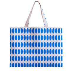 Polka Dots Blue White Zipper Mini Tote Bag