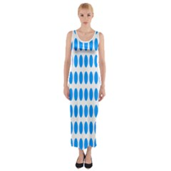 Polka Dots Blue White Fitted Maxi Dress