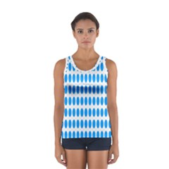 Polka Dots Blue White Women s Sport Tank Top  by Mariart