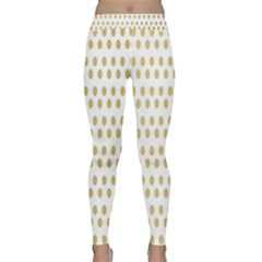 Polka Dots Gold Grey Classic Yoga Leggings by Mariart