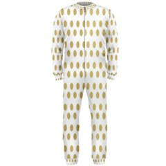 Polka Dots Gold Grey Onepiece Jumpsuit (men)  by Mariart