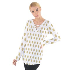 Polka Dots Gold Grey Women s Tie Up Tee by Mariart