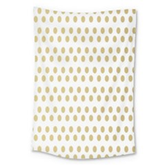 Polka Dots Gold Grey Large Tapestry by Mariart