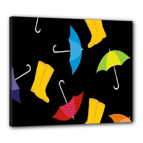 Rain Shoe Boots Blue Yellow Pink Orange Black Umbrella Canvas 24  X 20  by Mariart