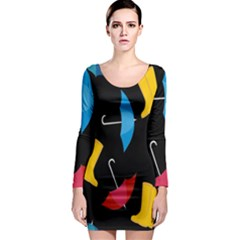 Rain Shoe Boots Blue Yellow Pink Orange Black Umbrella Long Sleeve Bodycon Dress by Mariart