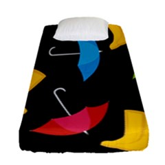 Rain Shoe Boots Blue Yellow Pink Orange Black Umbrella Fitted Sheet (single Size) by Mariart