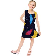 Rain Shoe Boots Blue Yellow Pink Orange Black Umbrella Kids  Tunic Dress by Mariart
