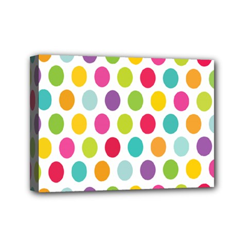Polka Dot Yellow Green Blue Pink Purple Red Rainbow Color Mini Canvas 7  X 5  by Mariart