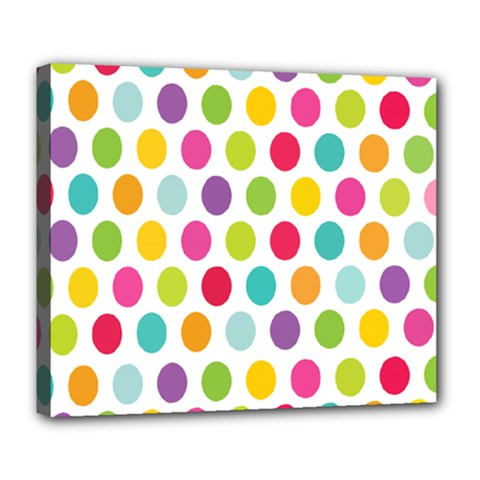 Polka Dot Yellow Green Blue Pink Purple Red Rainbow Color Deluxe Canvas 24  X 20   by Mariart
