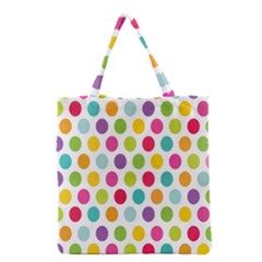 Polka Dot Yellow Green Blue Pink Purple Red Rainbow Color Grocery Tote Bag by Mariart