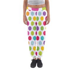 Polka Dot Yellow Green Blue Pink Purple Red Rainbow Color Women s Jogger Sweatpants by Mariart