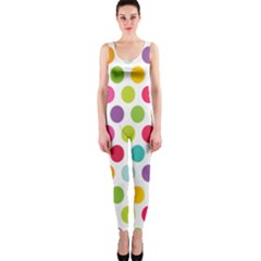 Polka Dot Yellow Green Blue Pink Purple Red Rainbow Color Onepiece Catsuit by Mariart