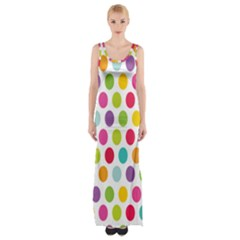 Polka Dot Yellow Green Blue Pink Purple Red Rainbow Color Maxi Thigh Split Dress by Mariart