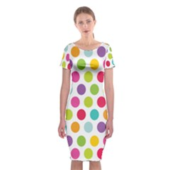 Polka Dot Yellow Green Blue Pink Purple Red Rainbow Color Classic Short Sleeve Midi Dress by Mariart