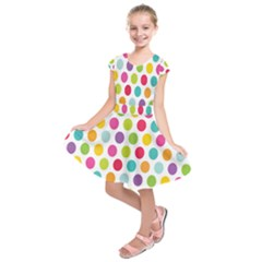 Polka Dot Yellow Green Blue Pink Purple Red Rainbow Color Kids  Short Sleeve Dress