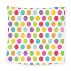 Polka Dot Yellow Green Blue Pink Purple Red Rainbow Color Square Tapestry (large) by Mariart