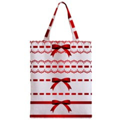 Ribbon Red Line Zipper Classic Tote Bag by Mariart