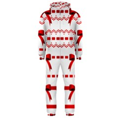 Ribbon Red Line Hooded Jumpsuit (men)  by Mariart