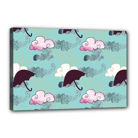 Rain Clouds Umbrella Blue Sky Pink Canvas 18  X 12  by Mariart