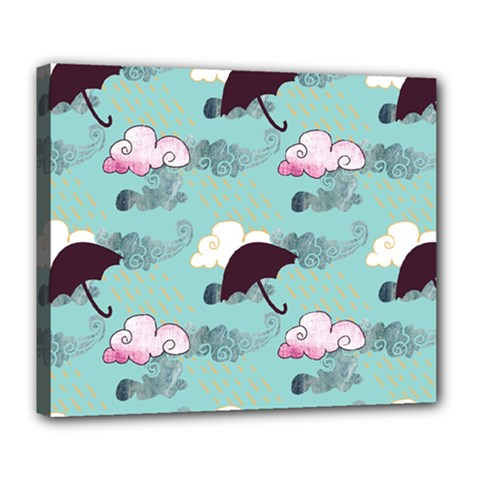 Rain Clouds Umbrella Blue Sky Pink Deluxe Canvas 24  X 20   by Mariart