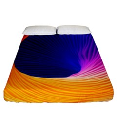 Wave Waves Chefron Color Blue Pink Orange White Red Purple Fitted Sheet (king Size) by Mariart