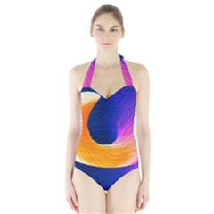 Wave Waves Chefron Color Blue Pink Orange White Red Purple Halter Swimsuit by Mariart