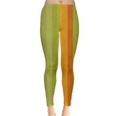 Colorful Citrus Colors Striped Background Wallpaper Leggings  by Simbadda