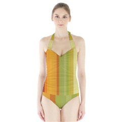 Colorful Citrus Colors Striped Background Wallpaper Halter Swimsuit by Simbadda