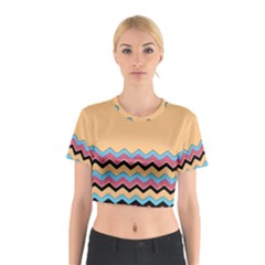 Chevrons Patterns Colorful Stripes Background Art Digital Cotton Crop Top by Simbadda