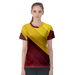 3d Glass Frame With Red Gold Fractal Background Women s Sport Mesh Tee