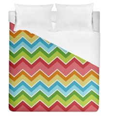 Colorful Background Of Chevrons Zigzag Pattern Duvet Cover (queen Size) by Simbadda