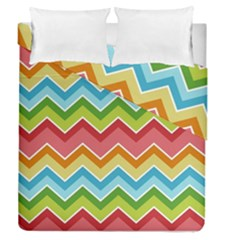 Colorful Background Of Chevrons Zigzag Pattern Duvet Cover Double Side (queen Size) by Simbadda