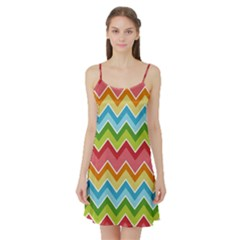 Colorful Background Of Chevrons Zigzag Pattern Satin Night Slip