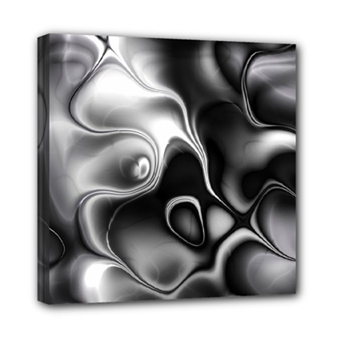 Fractal Black Liquid Art In 3d Glass Frame Mini Canvas 8  X 8
