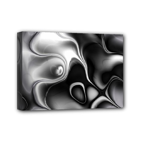 Fractal Black Liquid Art In 3d Glass Frame Mini Canvas 7  X 5  by Simbadda