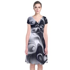 Fractal Black Liquid Art In 3d Glass Frame Short Sleeve Front Wrap Dress